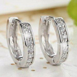 New 925 Silver Hoop Diamond Earrings